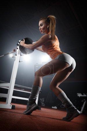 Girl training in  gym