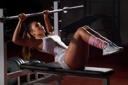 Girl with  Bar Bench Press