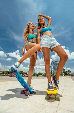 Beautiful skateboarding women