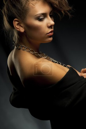 Beautiful woman with chains
