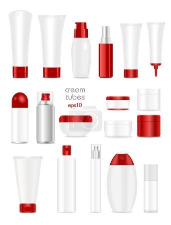 Illustration pour Tube cosmétique vierge sur fond blanc. Couleurs blanc et rouge. Place pour ton texto. Vecteur - image libre de droit