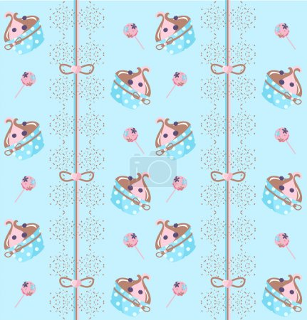 Cupcakes background with stripes.