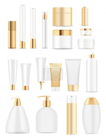 Illustration pour Ensemble de tubes cosmétiques isolés sur blanc. Couleurs or et blanc. Place pour votre textVector - image libre de droit