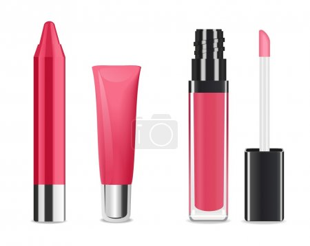 Pink lip gloss and lip stick isolated on white. Ma...