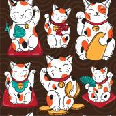 Seamless vector pattern with lucky cats