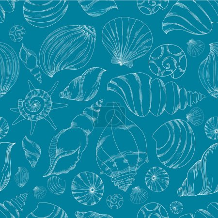 Illustration for Seamless blue vector pattern with shells. - Royalty Free Image