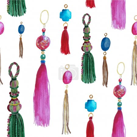 Illustration for Watercolor seamless pattern with tassels - Royalty Free Image
