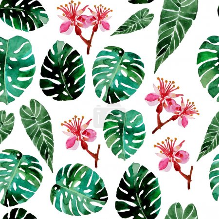 Illustration for Vector watercolor tropical seamless background - Royalty Free Image
