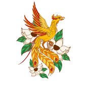 Chinese phoenix in lotuses