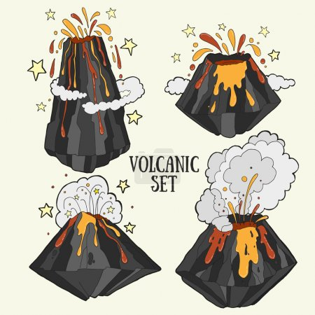 volcanic set with cartoon volcanoes