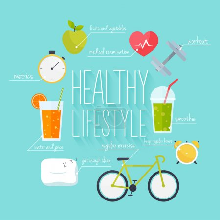 Illustration for Concept of healthy lifestyle info graphics. Icons for web: fitness, healthy food and metrics. Flat design vector illustration. - Royalty Free Image