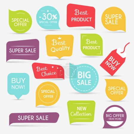 Illustration for Set of sale banners design. Sale paper banner. Sale and discounts. Super Sale and special offer. Sale shopping background and label for business promotion. Vector illustration - Royalty Free Image
