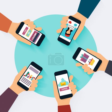 Illustration for Social Network Vector Concept. Set of social media icons. Flat Design Illustration for Web Sites Infographic Design with laptop avatars. Communication Systems and Technologies. - Royalty Free Image