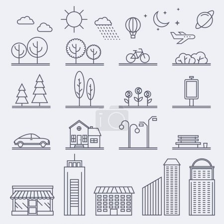 Icons with buildings, houses and architecture signs