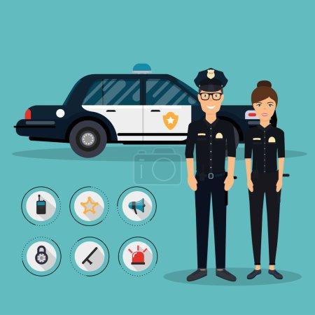 Illustration pour Personnages d'agent avec véhicule de police en conception plate. Un policier et une policière. Éléments de sécurité des symboles d'équipement icônes vectorielles . - image libre de droit