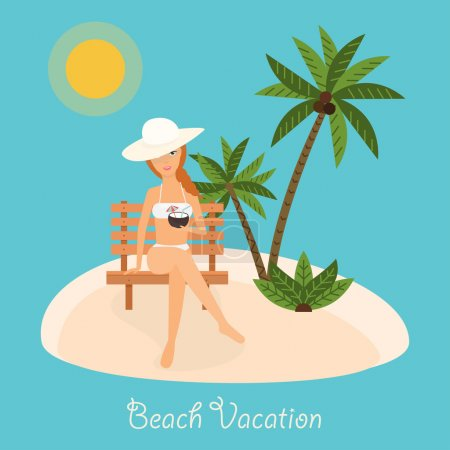 Illustration for Woman sits on deckchair with cocktail in hand. Vector illustration on summer vacation beach resort. - Royalty Free Image