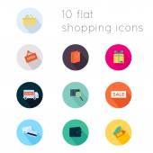 Modern flat icons vector collection with long shadow effect in stylish colors of shopping theme Isolated on white background
