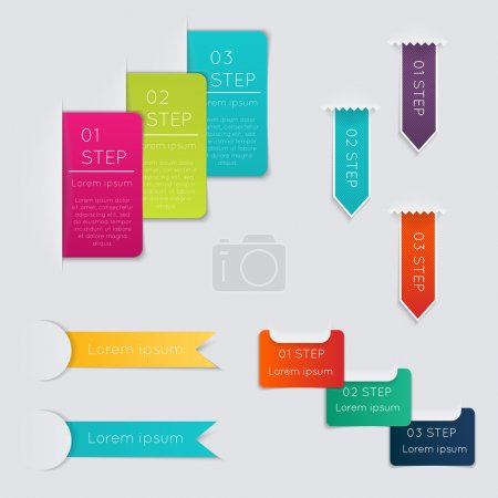 Illustration for Set of colorful text box with steps, trendy colors - Royalty Free Image