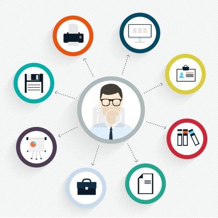 Illustration pour Concept de bureau client plat vectoriel - icônes et éléments de conception infographique - expérience client - image libre de droit