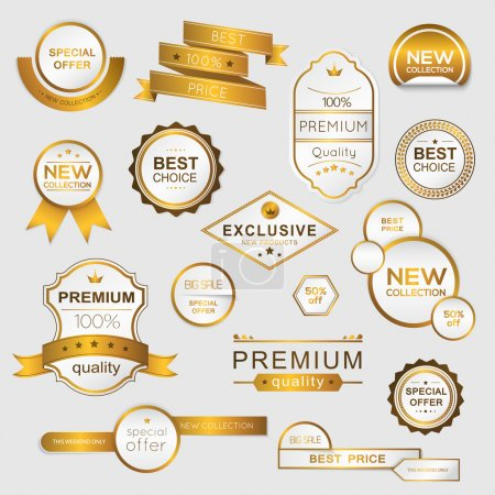 Collection of golden promo stickers