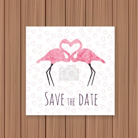 save the date card with flamingos