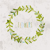 Spring floral wreath vintage background for Design or invitation with flowers