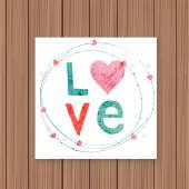 Invitation Love card on wooden background