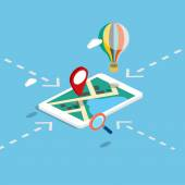Flat 3d isometric mobile navigation map infographic with marker map pointer
