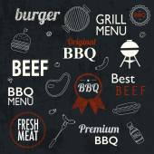 Barbecue Grill Icons and labels