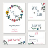 Spring floral save the date vintage backgrounds set for Design or invitation