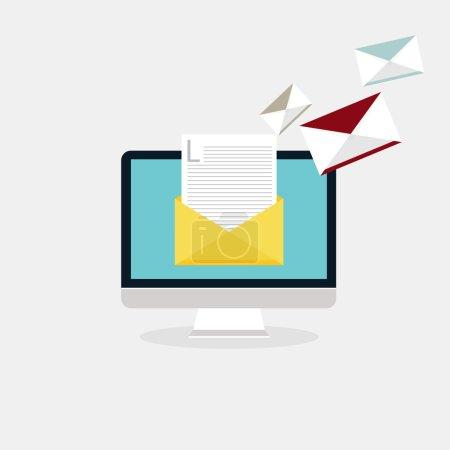 Illustration pour Envoi de courriels et réception de courrier. Publicité par courriel, marketing numérique direct. Style design plat concept d'illustration vectorielle moderne . - image libre de droit