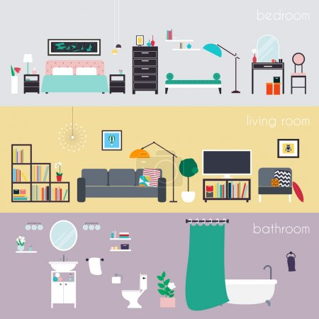 Illustration for Set of colorful vector interior design house rooms with furniture icons: living room, bedroom and bathroom. Furniture and Home Accessories. Flat style vector illustration. - Royalty Free Image