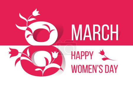 Women's Day concept with floral decorated text 8 March