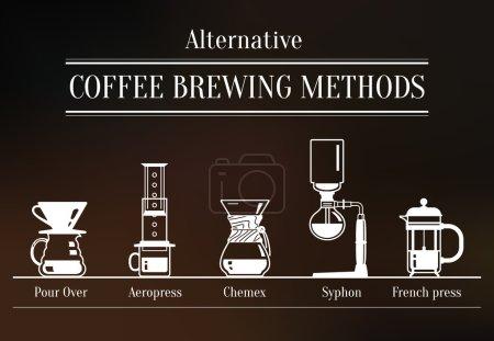 Illustration pour Méthodes alternatives de brassage du café. Façons de préparer le café - image libre de droit