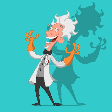 Illustration for Mad scientist laughs ominously. Vector illustration - Royalty Free Image