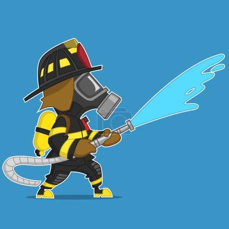 Illustration pour Un pompier verse de l'eau d'un tuyau. Illustration vectorielle - image libre de droit