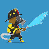 Firefighter extinguishes