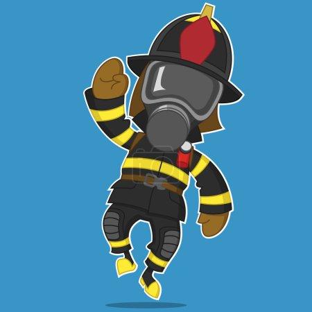 Illustration pour Pompier se réjouit. Illustration vectorielle . - image libre de droit