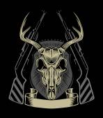 Illustration of deer skull with weapons