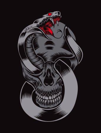 Illustration pour Illustration du crâne avec cobra - image libre de droit