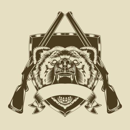 Illustration of angry bear head.