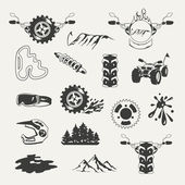 Set of extreme sports emblems badges labels and designed elements