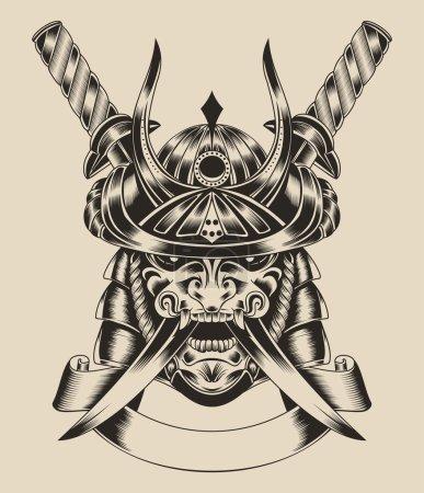 Illustration pour Illustration du masque samouraï guerrier avec épée katana - image libre de droit