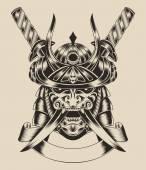 Illustration of mask warrior with swords