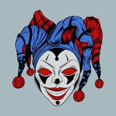 Illustration of evil clown in colored cap