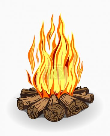 Illustration for Illustration of isolated camp fire. Colored on white background - Royalty Free Image