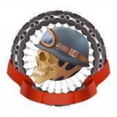 Illustration of skull motorcyclists with helmet