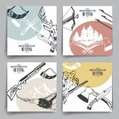 Design template brochure or flyers Weapons animals and hunting equipment icons