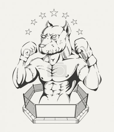 Illustration for Black and white illustration of  fighters body with pit bulls head in the ring - Royalty Free Image