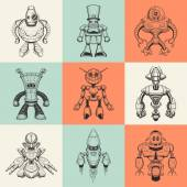 Set of nine vector illustrations with cartoon robots.